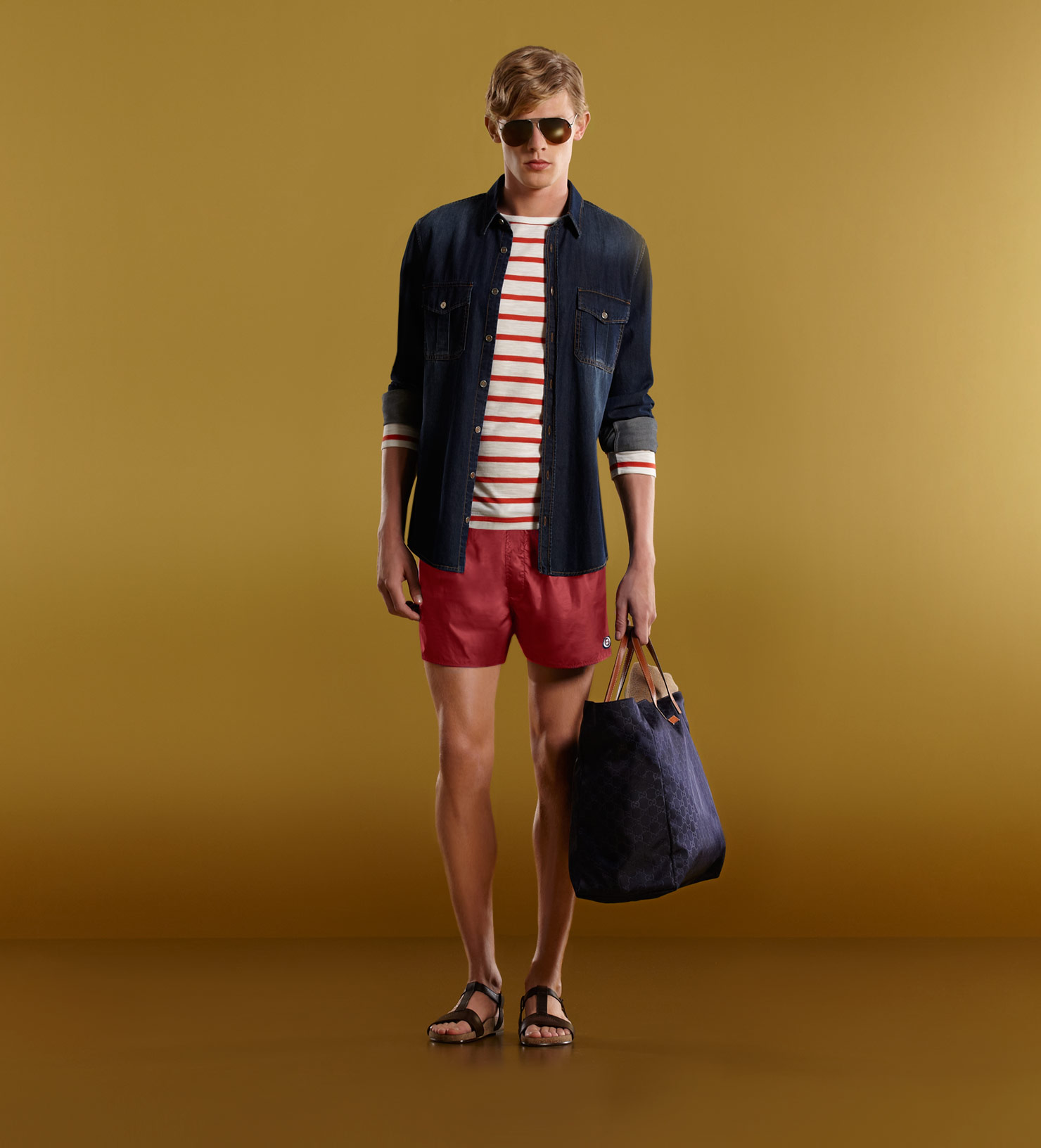 Gucci Swim Shorts With Web Patch Detail In Brown For Men