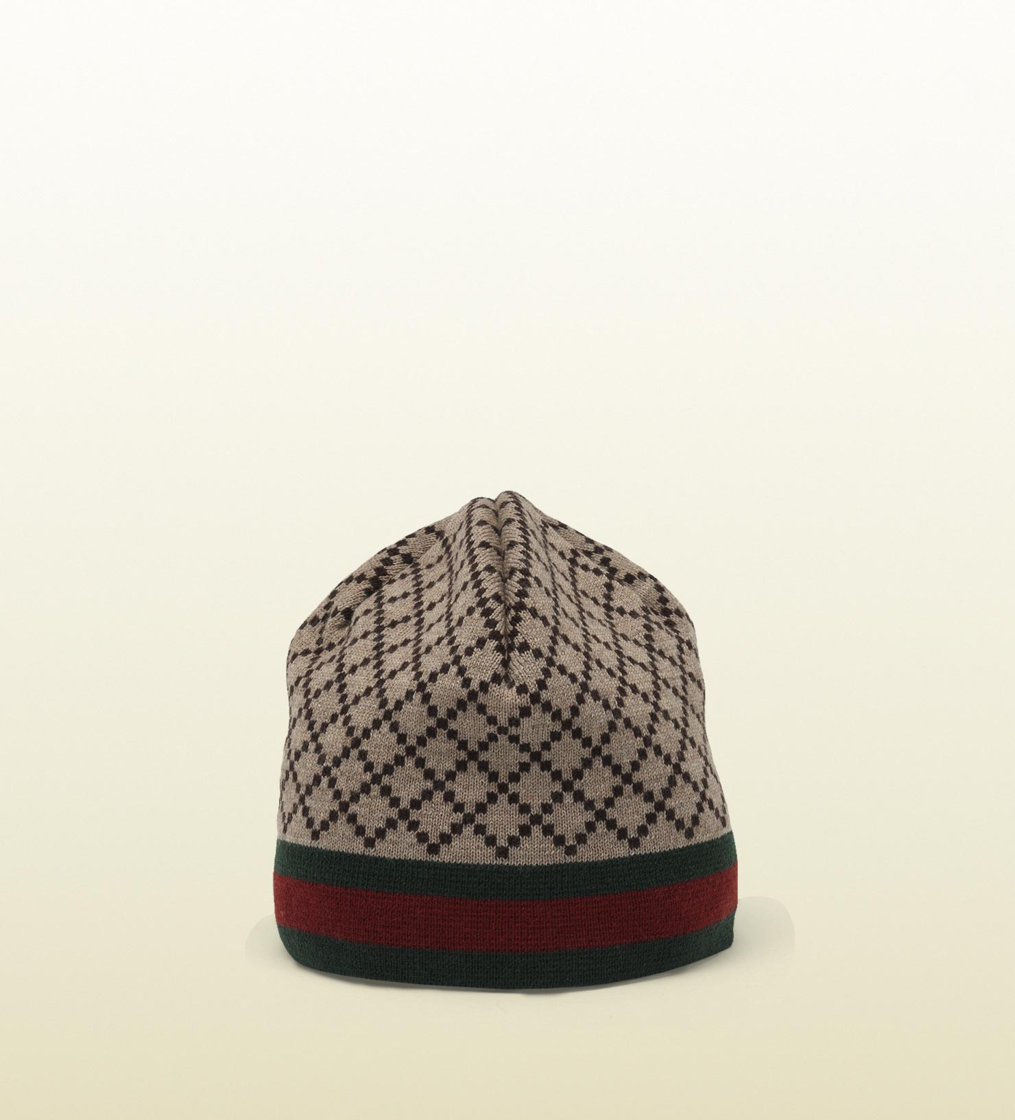 Gucci Hats For Men: Gucci Diamante Pattern Knit Hat With Web Detail In Brown