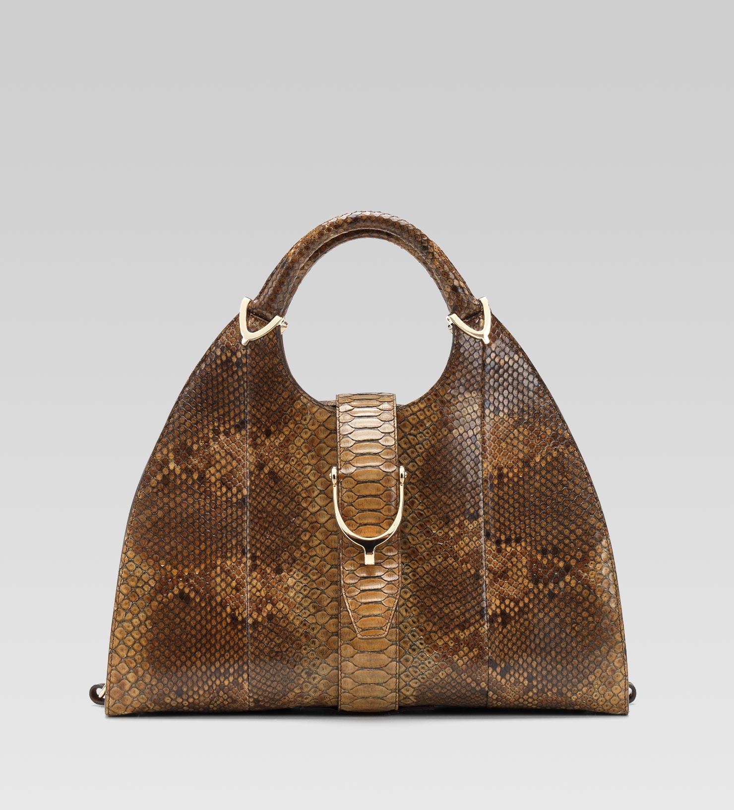 ddfe6552b08 Lyst - Gucci Stirrup Brown Python Top Handle Bag in Brown