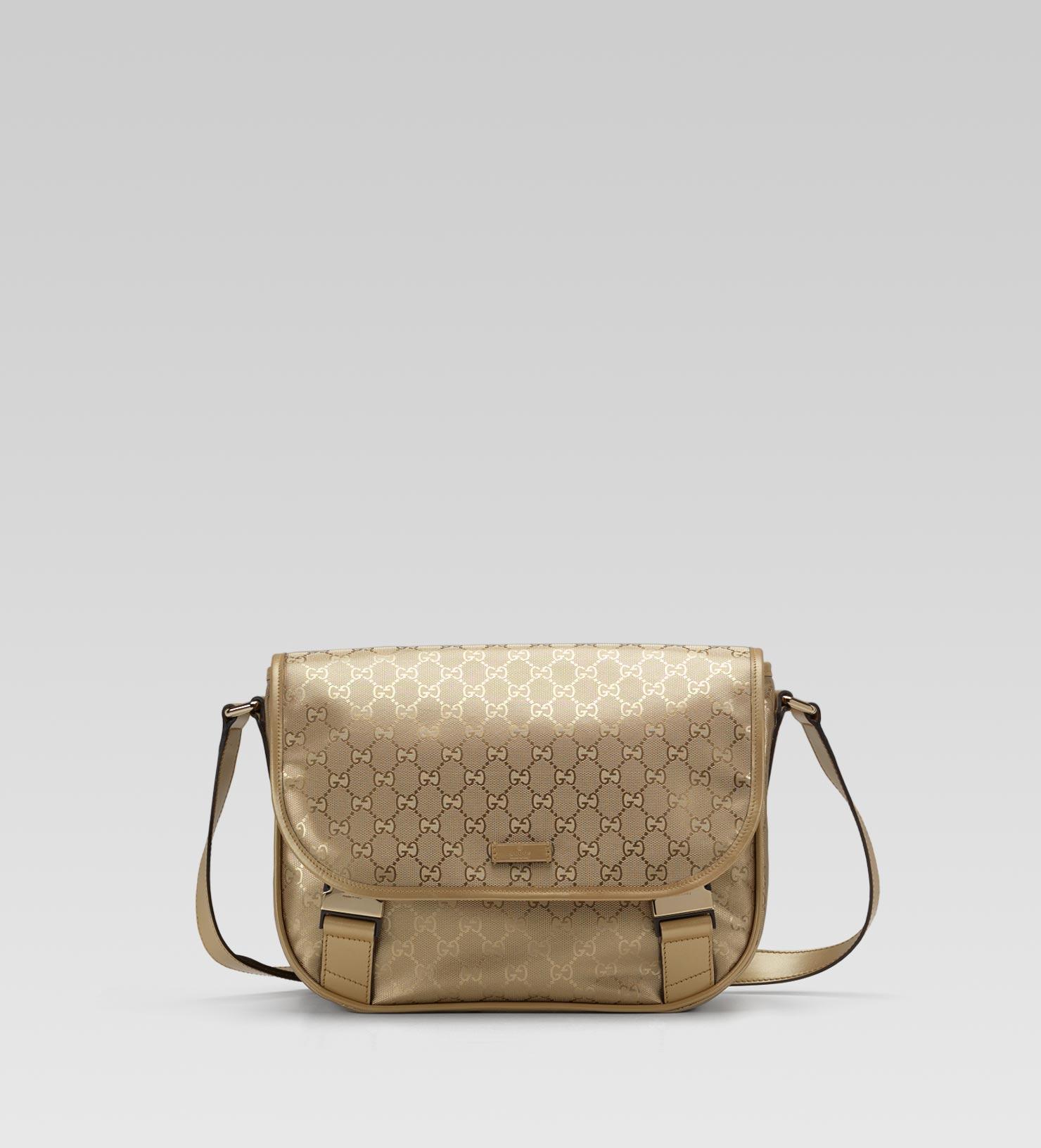 gucci medium messenger bag in metallic for men lyst. Black Bedroom Furniture Sets. Home Design Ideas