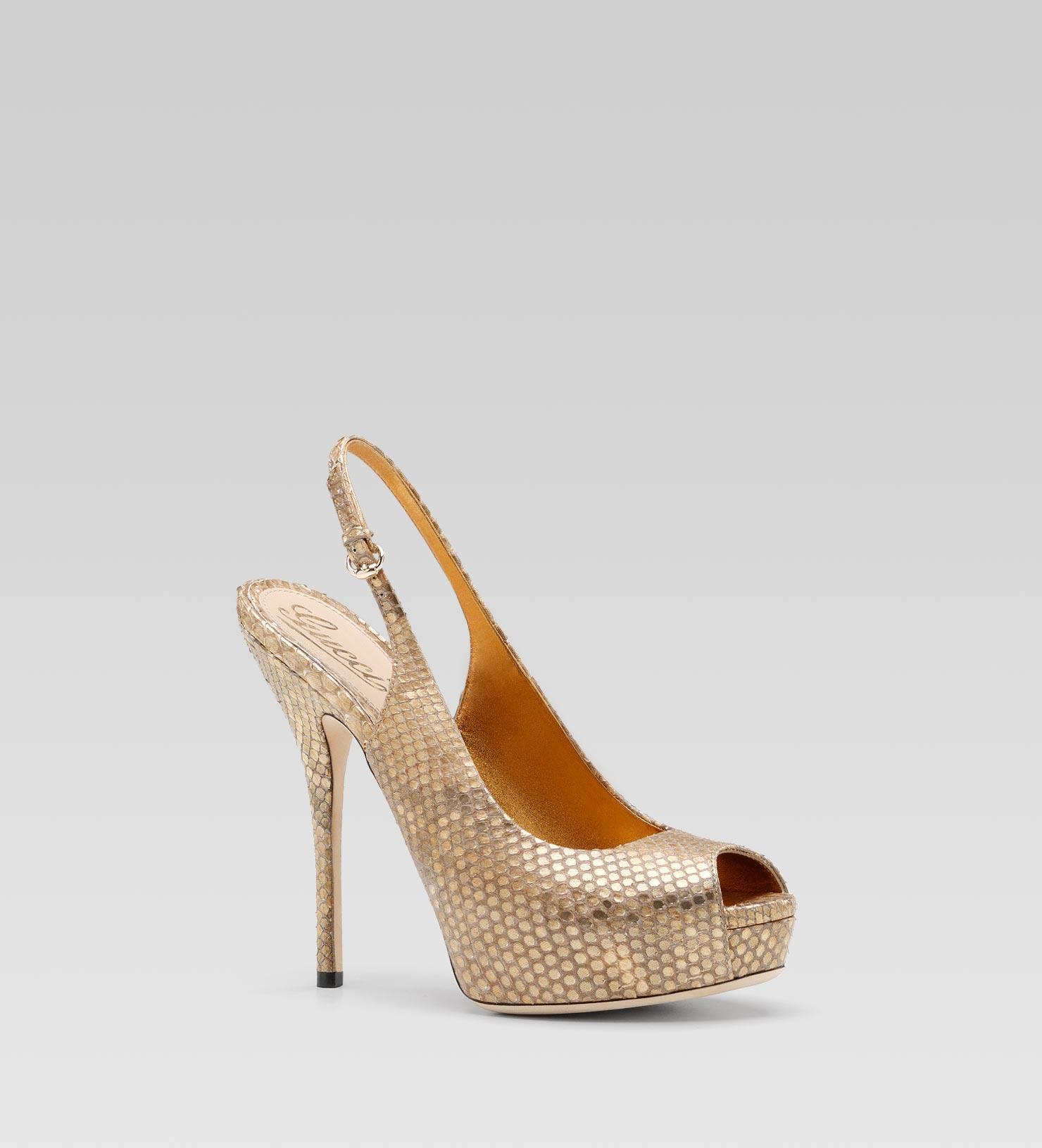 gucci sofia high heel slingback platform sandal in metallic lyst. Black Bedroom Furniture Sets. Home Design Ideas