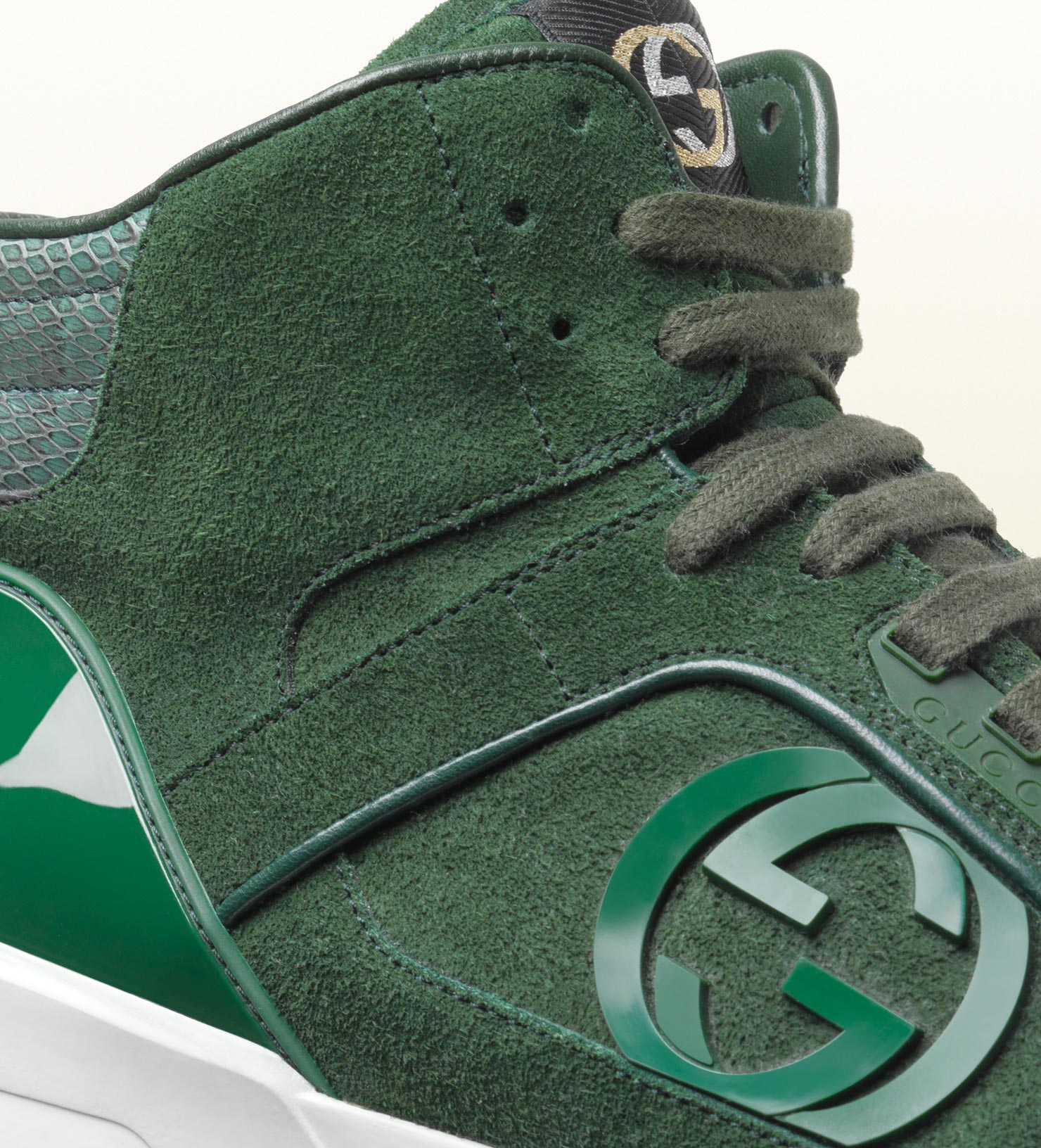 7677fed1f29b Gucci Hitop Sneaker with Interlocking G Detail in Green for Men - Lyst