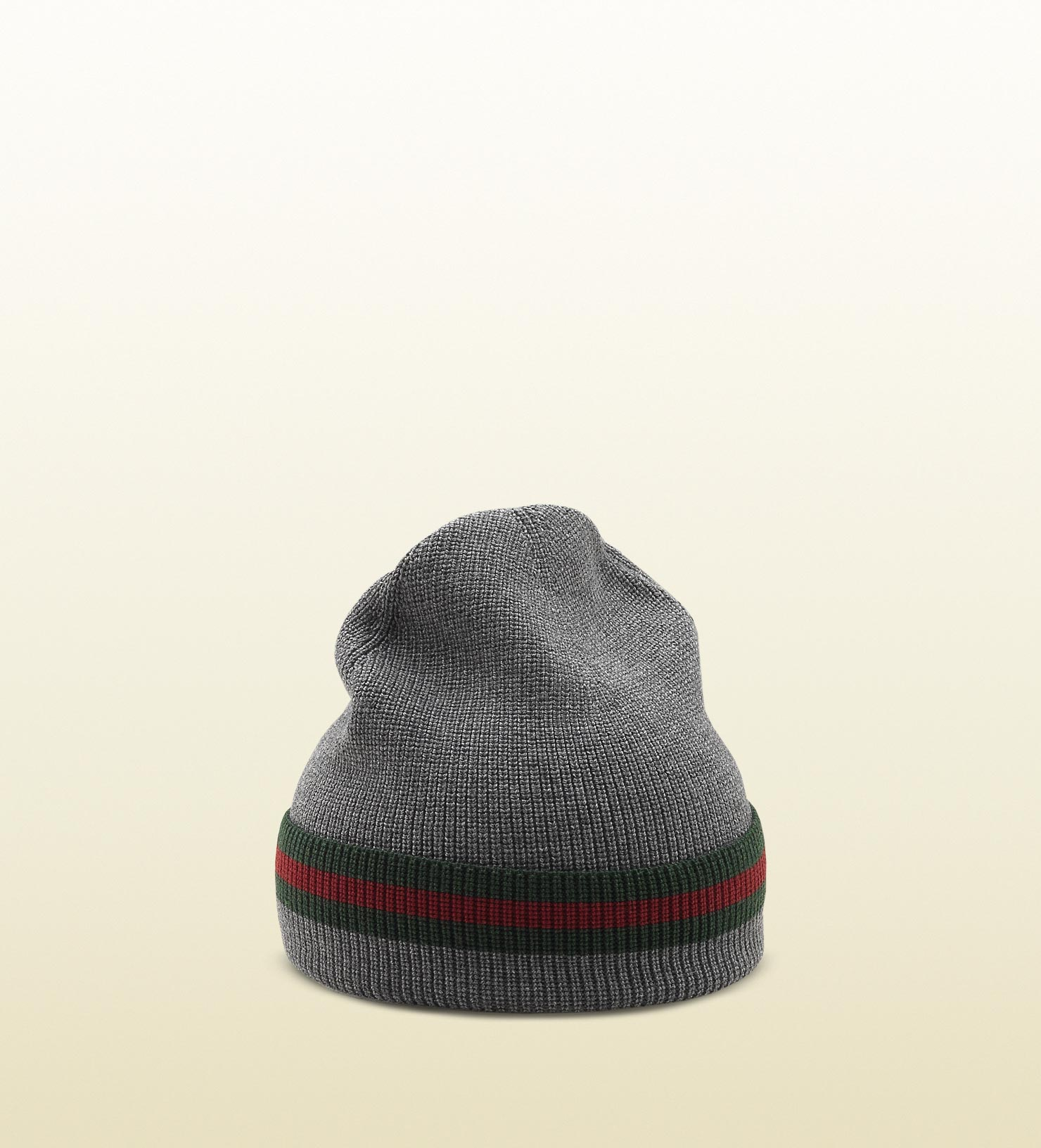 Lyst - Gucci Knit Wool Web Hat in Gray for Men bc075fbd55a