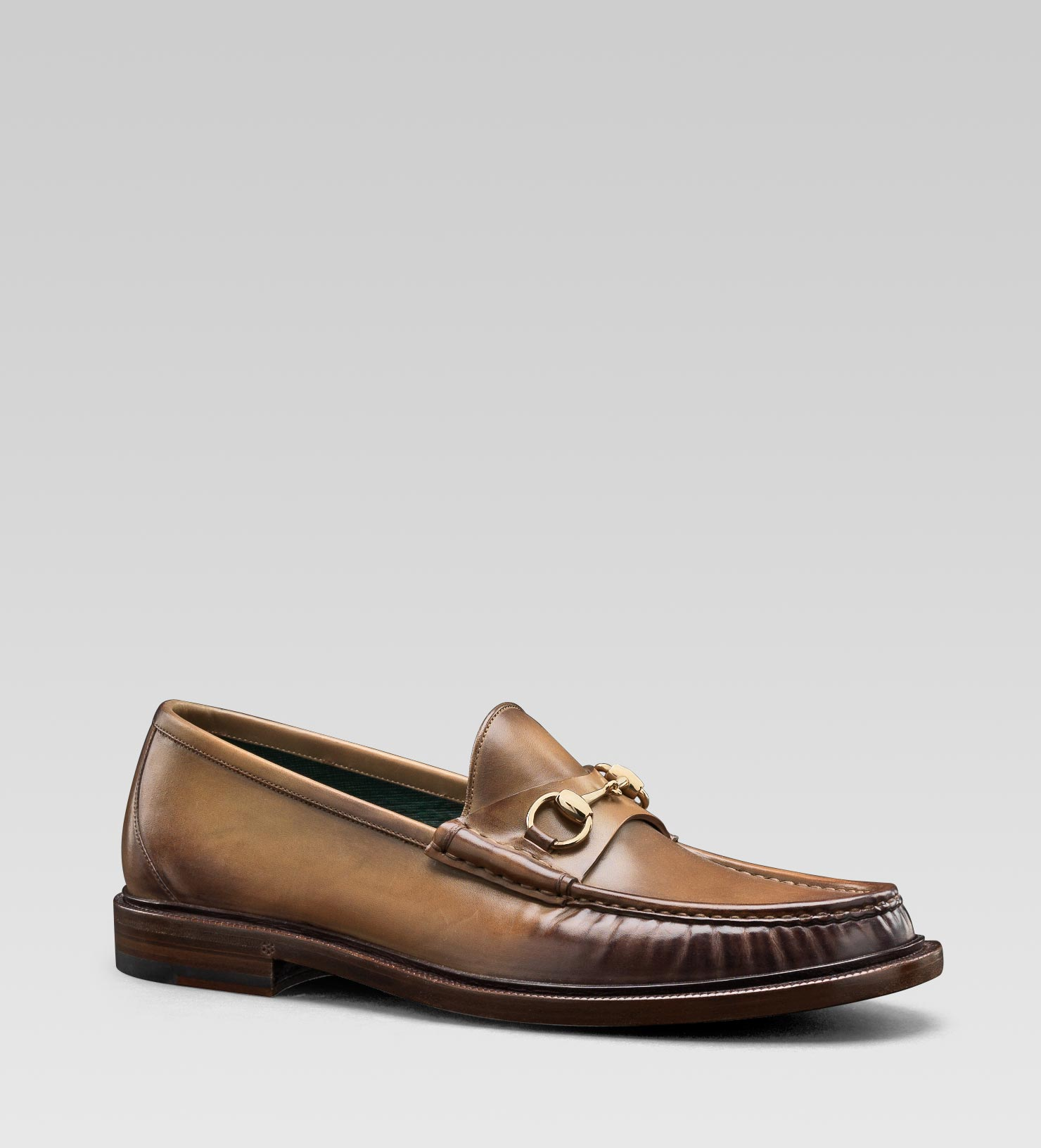 0751aac18cb Lyst - Gucci Mens Horsebit Moccasin in Khaki Hand Shaded Leather ...