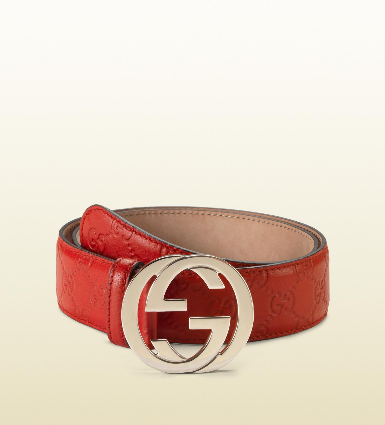 Gucci Ssima Leather Belt With Interlocking G Buckle in Red ...