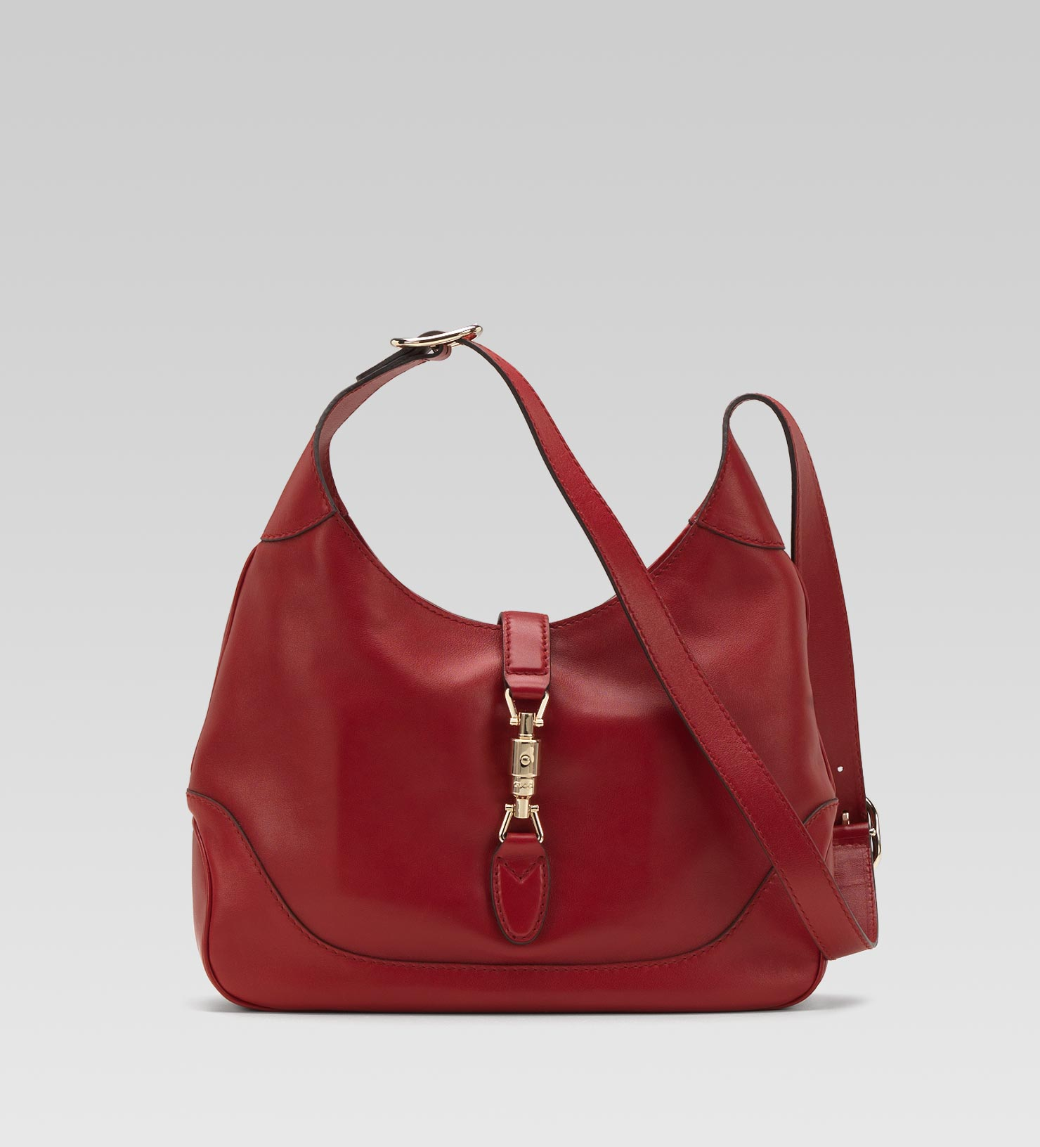 Gucci Jackie Red Leather Shoulder Bag in Red | Lyst