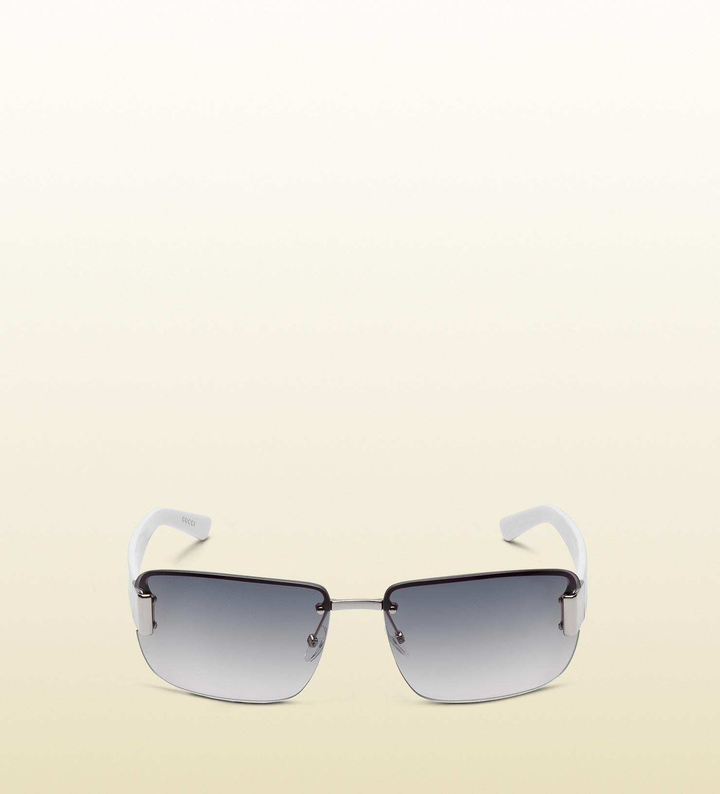 b2d8c3afdb7 Lyst - Gucci Medium Rimless Sunglasses With Logo And Signature Web ...