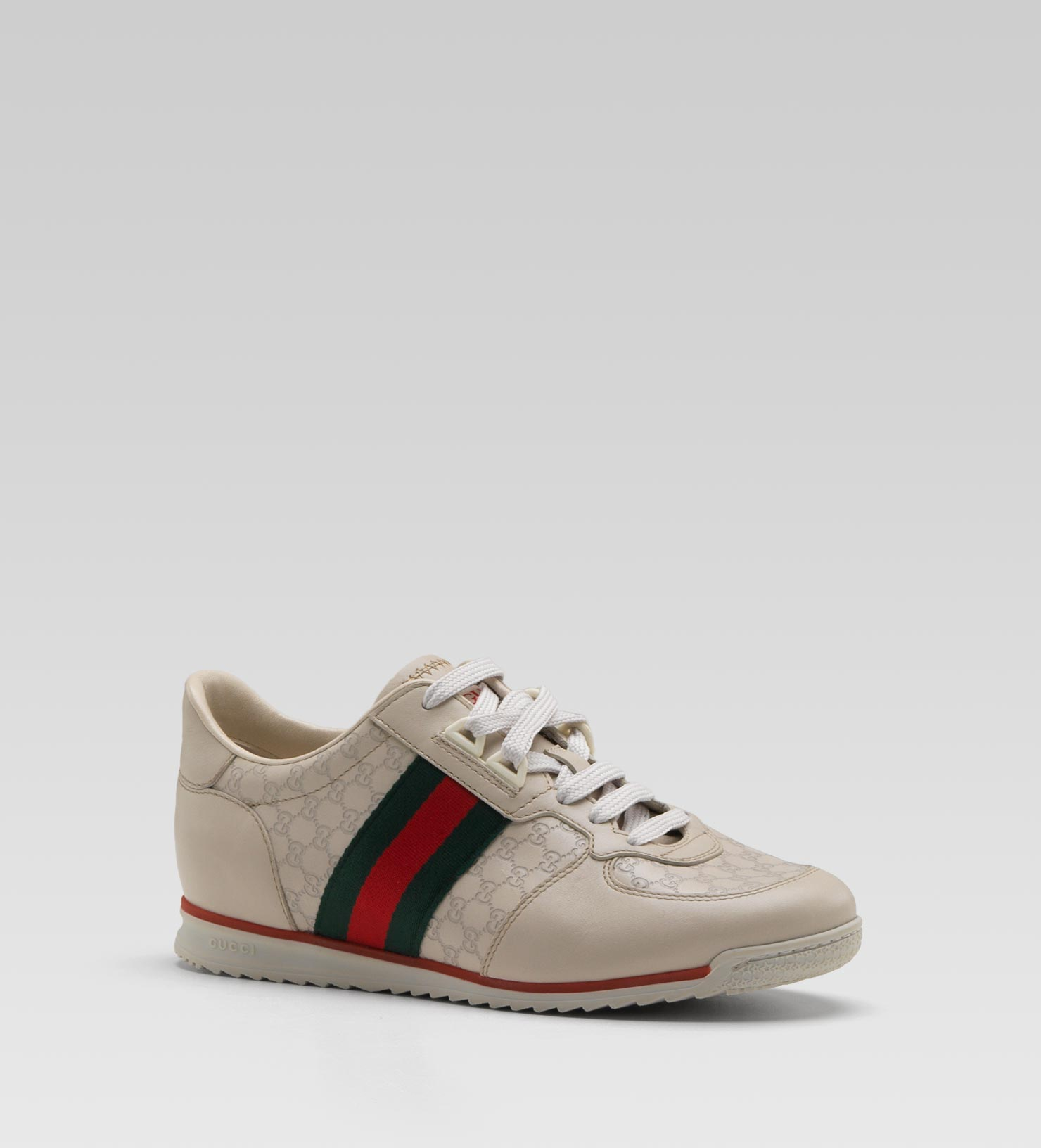 7c81566d3b6 Lyst - Gucci Sl73 Laceup Trainer with Signature Web Gucci Label On ...