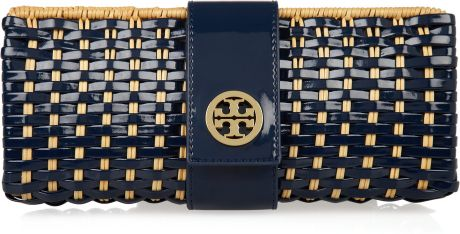 Tory Burch Rattan and Faux Patentleather Clutch in Brown (tan)
