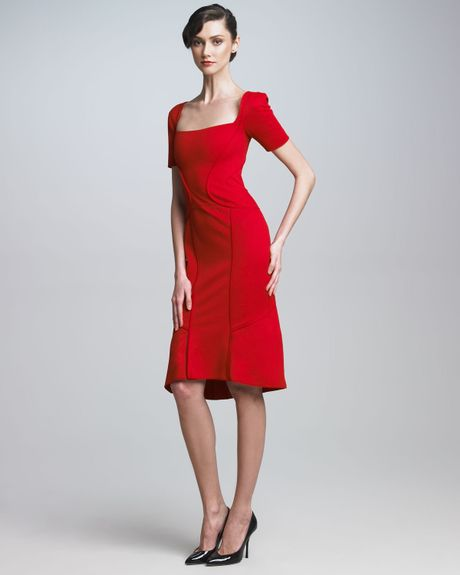 Zac Posen Square Neck Dress in Red (poppy)