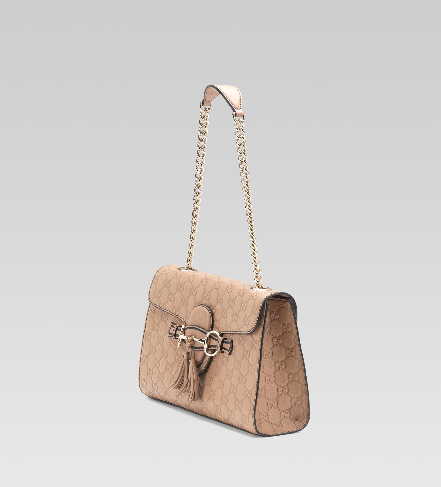 2dc5d3dded2a Gucci Emily Guccissima Leather Chain Shoulder Bag in Brown - Lyst