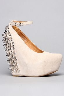 Jeffrey Campbell The Spike Aubrey Shoe in Nude Suede and Silver - Lyst