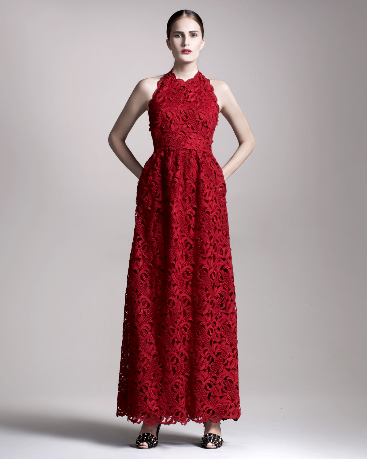 Valentino Lace Halter Gown in Red - Lyst