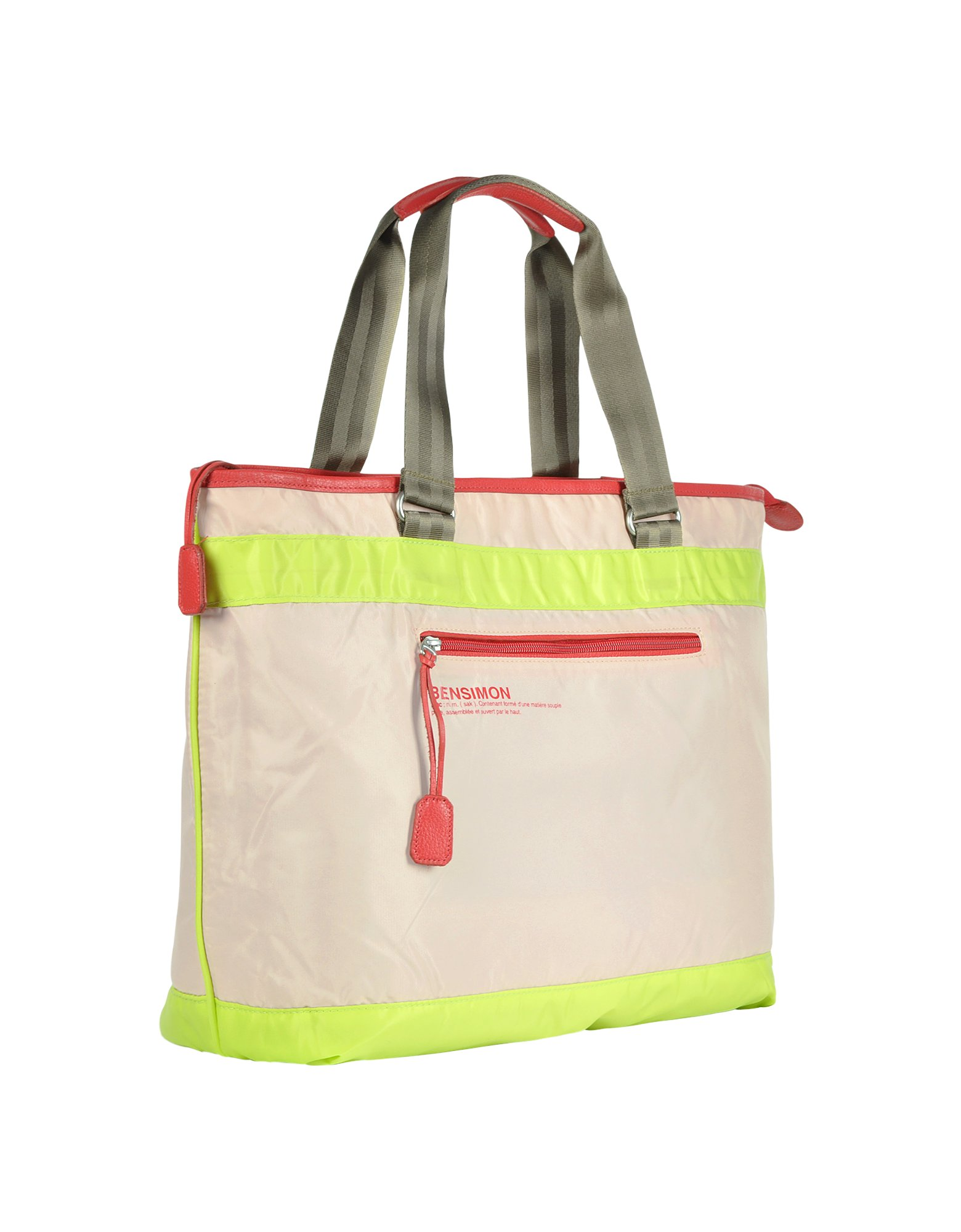 Bensimon Neon Line Large Nylon Zippered Tote Bag in Pink | Lyst