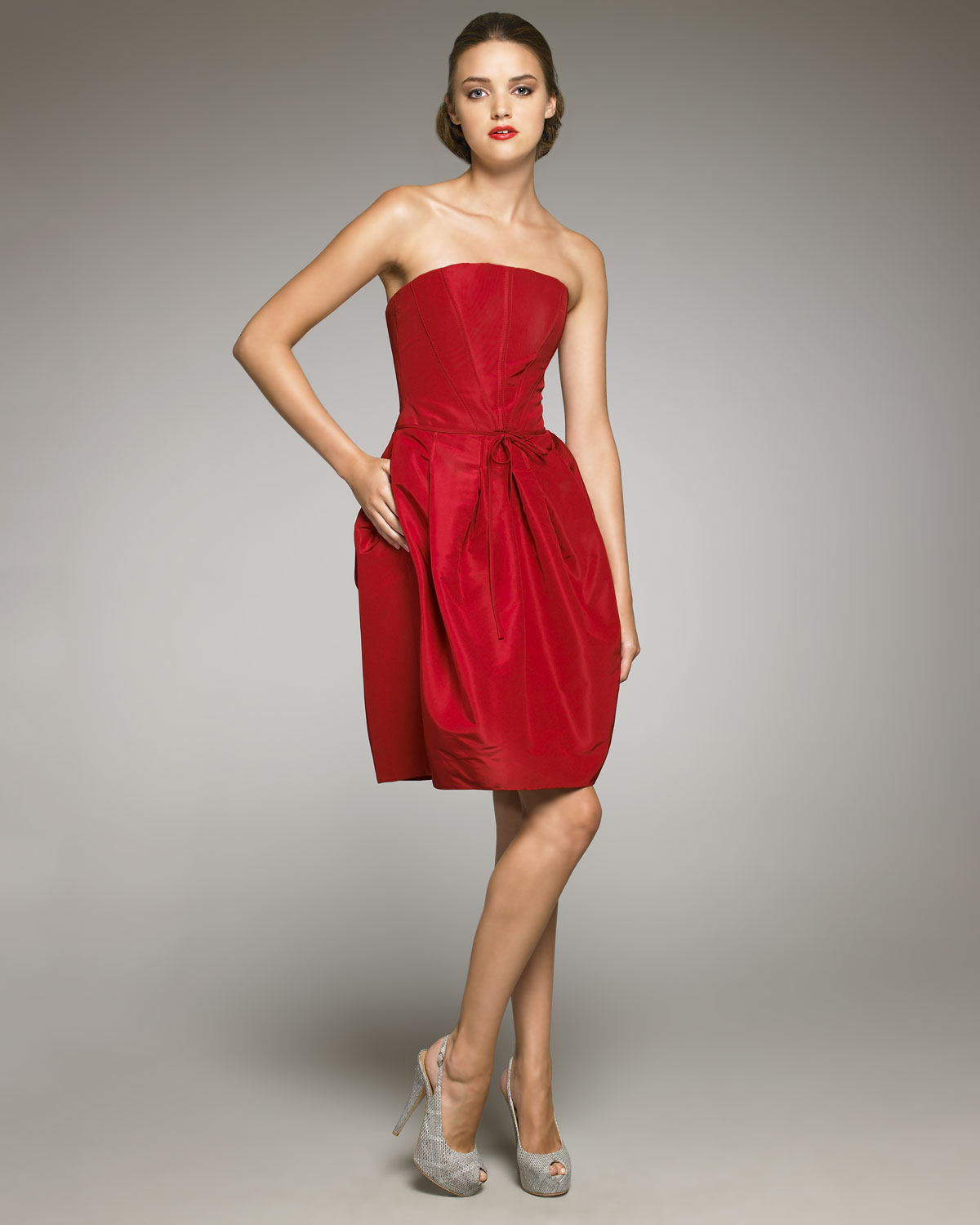 9c44ab2bd14 Carolina Herrera Strapless Silk Faille Dress in Red - Lyst