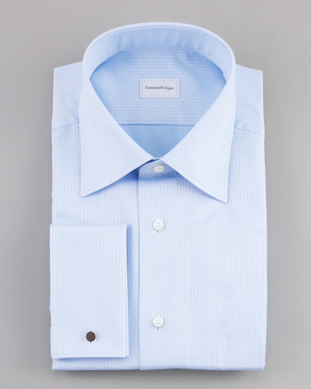 Lyst Ermenegildo Zegna Frenchcuff Herringbone Dress Shirt In Blue