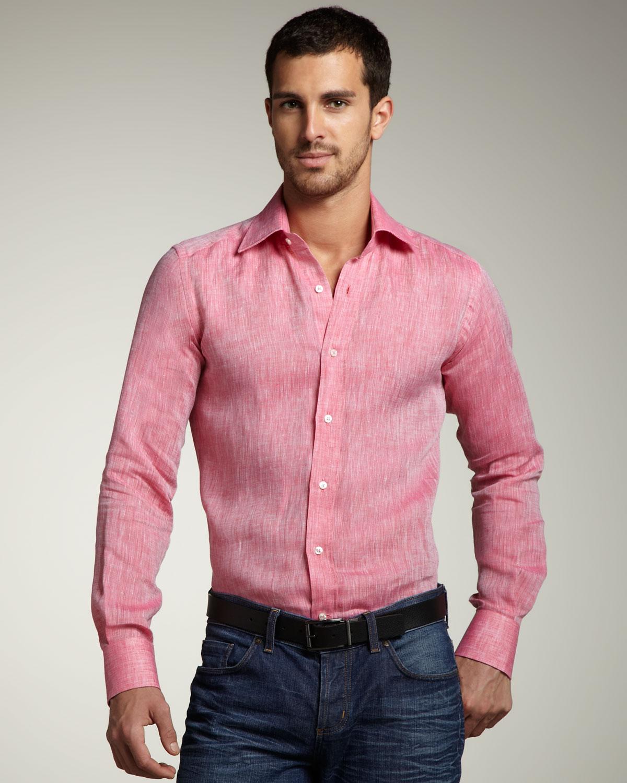 Etro Linen Sport Shirt in Pink for Men | Lyst