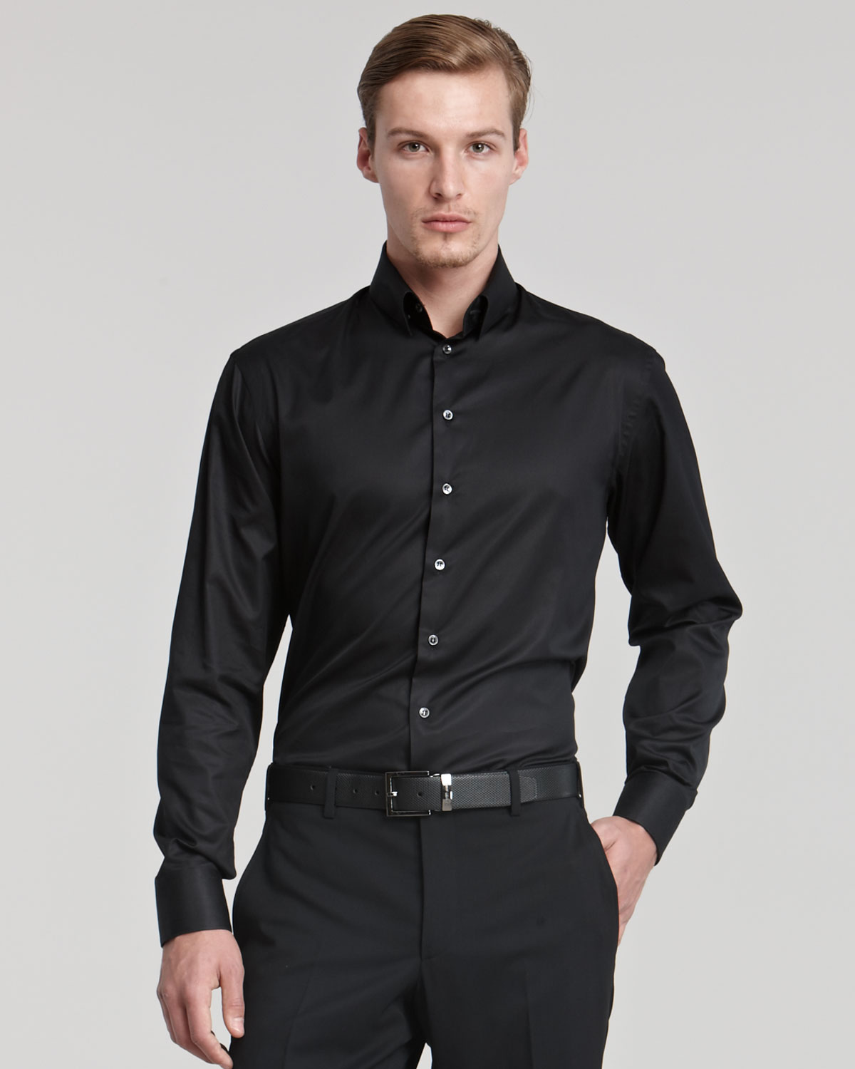 giorgio armani woven dress shirt in black for men lyst