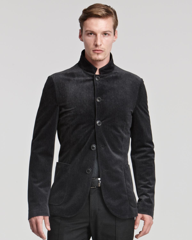 Lyst Giorgio Armani Velvet Microfiber Nehru Jacket In