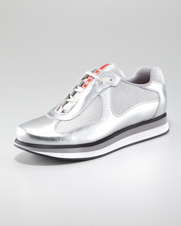 53efb8d1b82d ... uk prada metallic sport sneaker with micro sole in metallic for men lyst  6e58e 672a2 ...