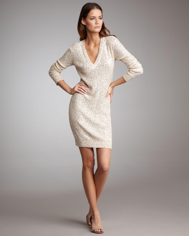108b3b3aea Stella McCartney Sequined Sweaterdress in White - Lyst