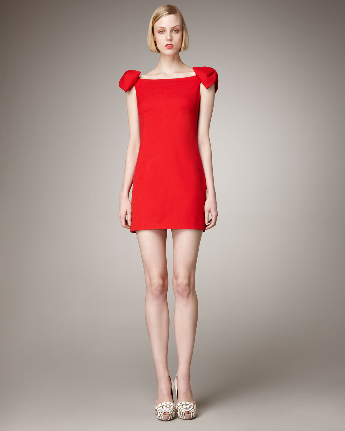 One Shoulder Bow Dress Red Valentino
