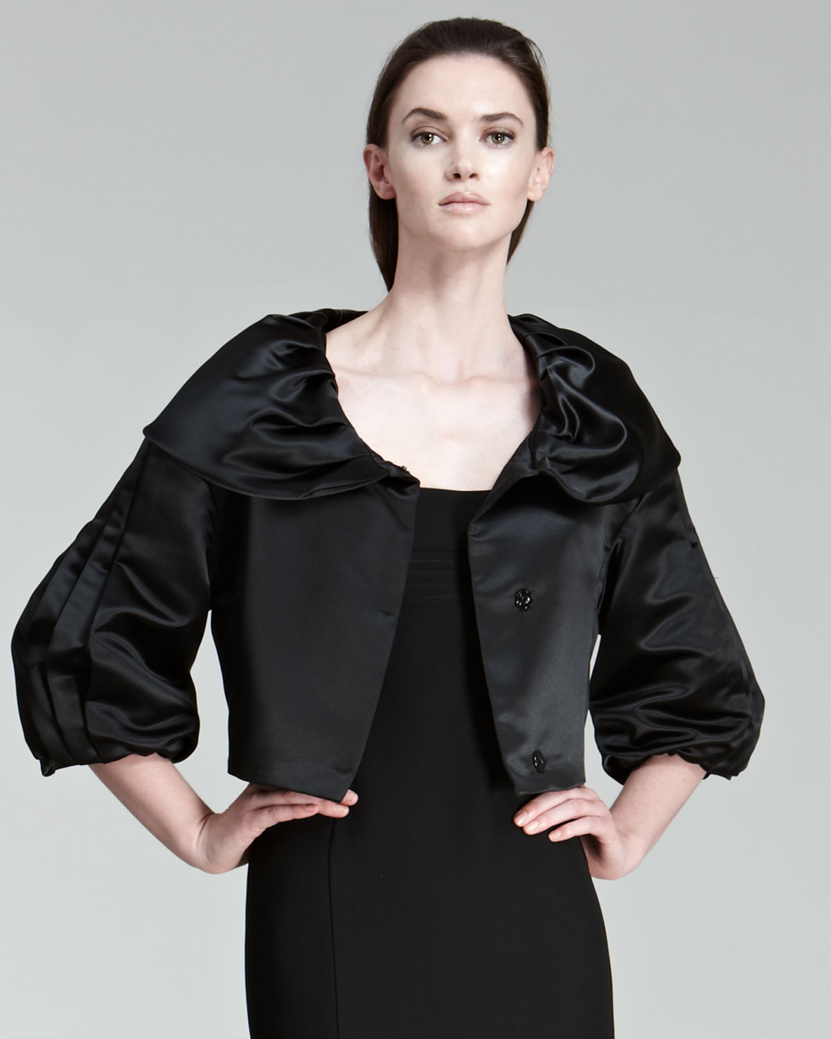 Armani Cropped Satin Evening Jacket In Black Lyst