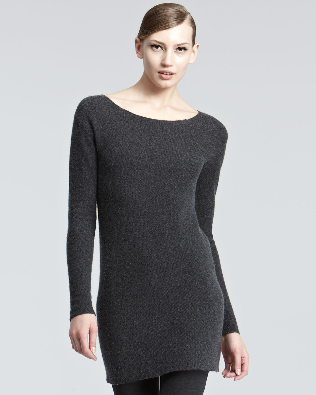 donna karan new york fitted cashmere tunic in black. Black Bedroom Furniture Sets. Home Design Ideas
