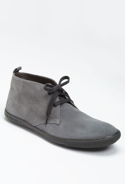 prada suede chukka boot in gray for grey lyst