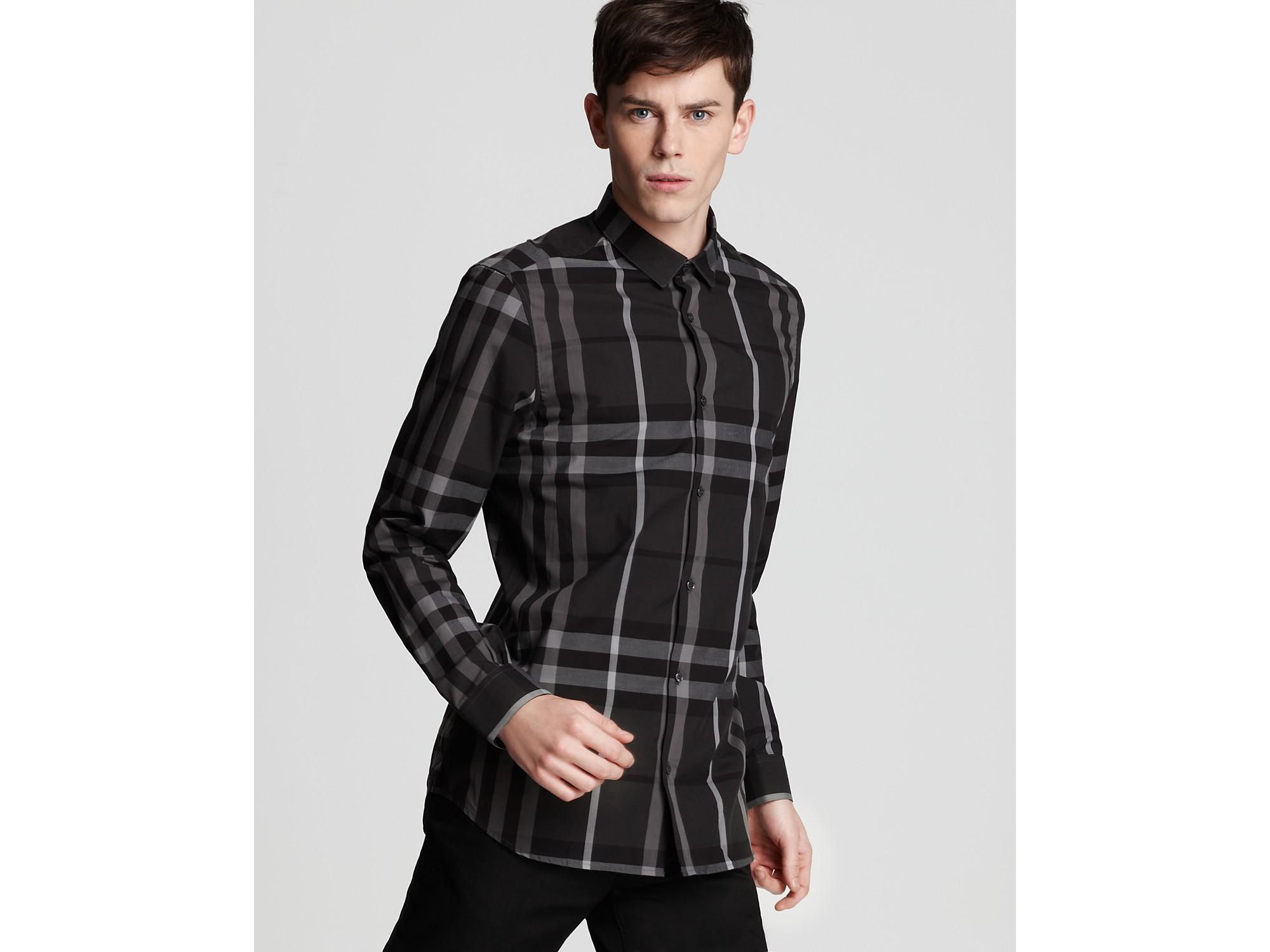 Burberry Slim Fit Pembury Check Shirt In Blue For Men