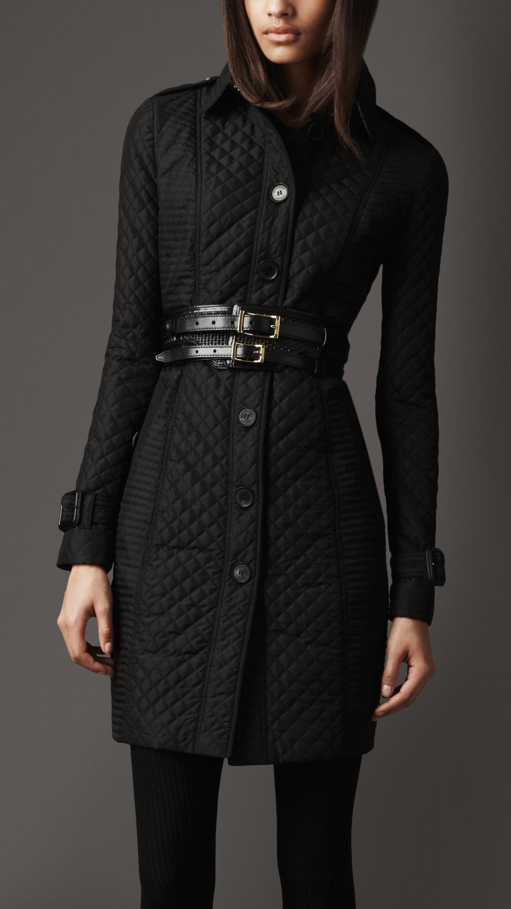 Lyst Burberry Long Quilted Trench Coat In Black