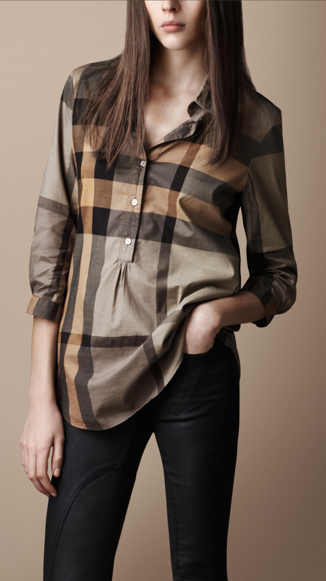 d3257b2db7d Burberry Brit Check Tunic Shirt in Natural - Lyst