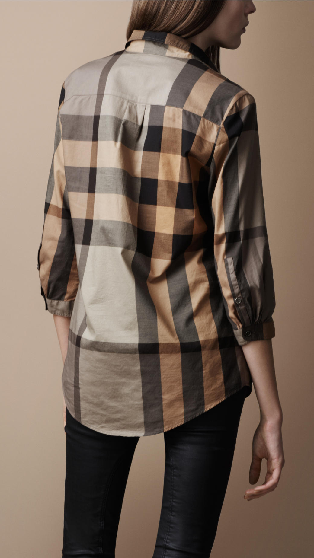 e88006bc701 Burberry Brit Check Tunic Shirt in Natural - Lyst