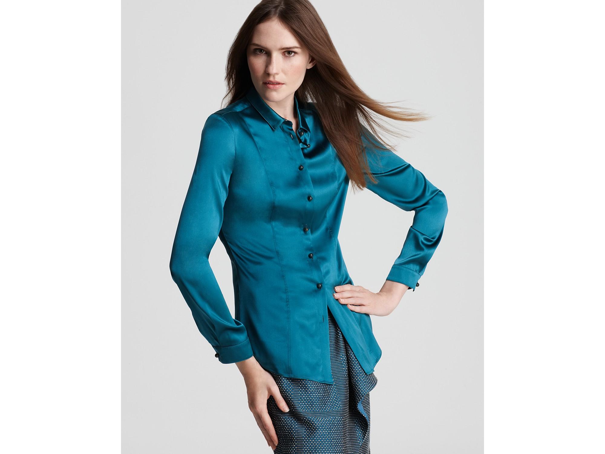 Burberry london stretch silk button down shirt in blue for Silk button down shirt