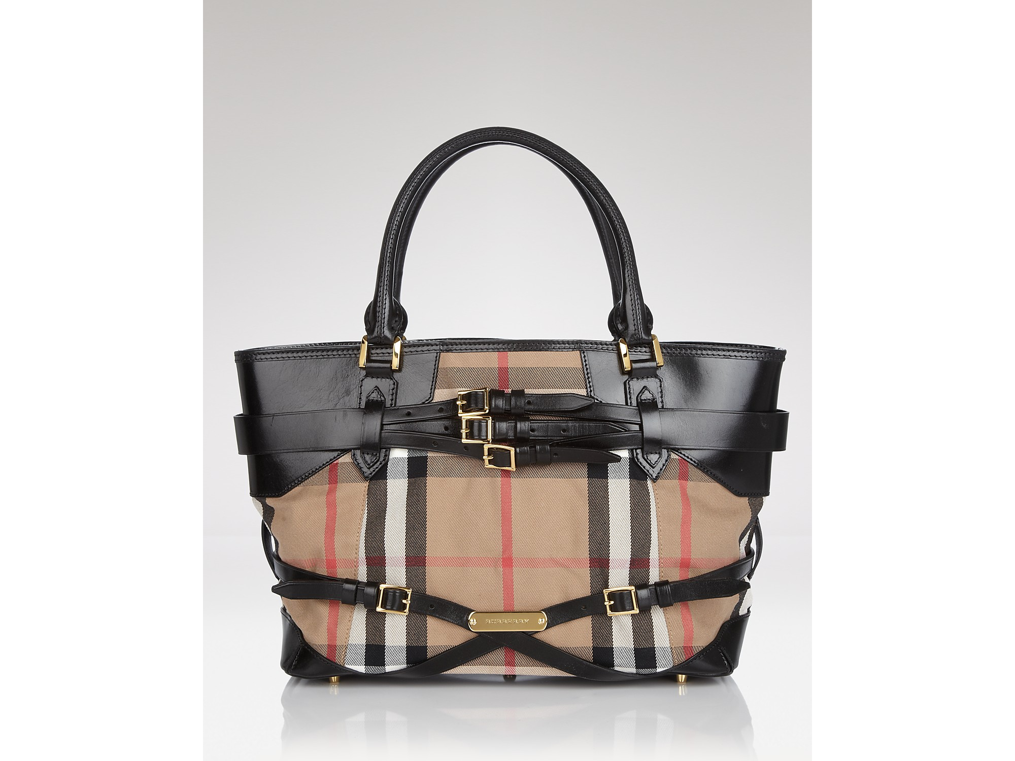 Lyst - Burberry Tote Bridle House Check Medium Lynher in Black c31f0f415fb88