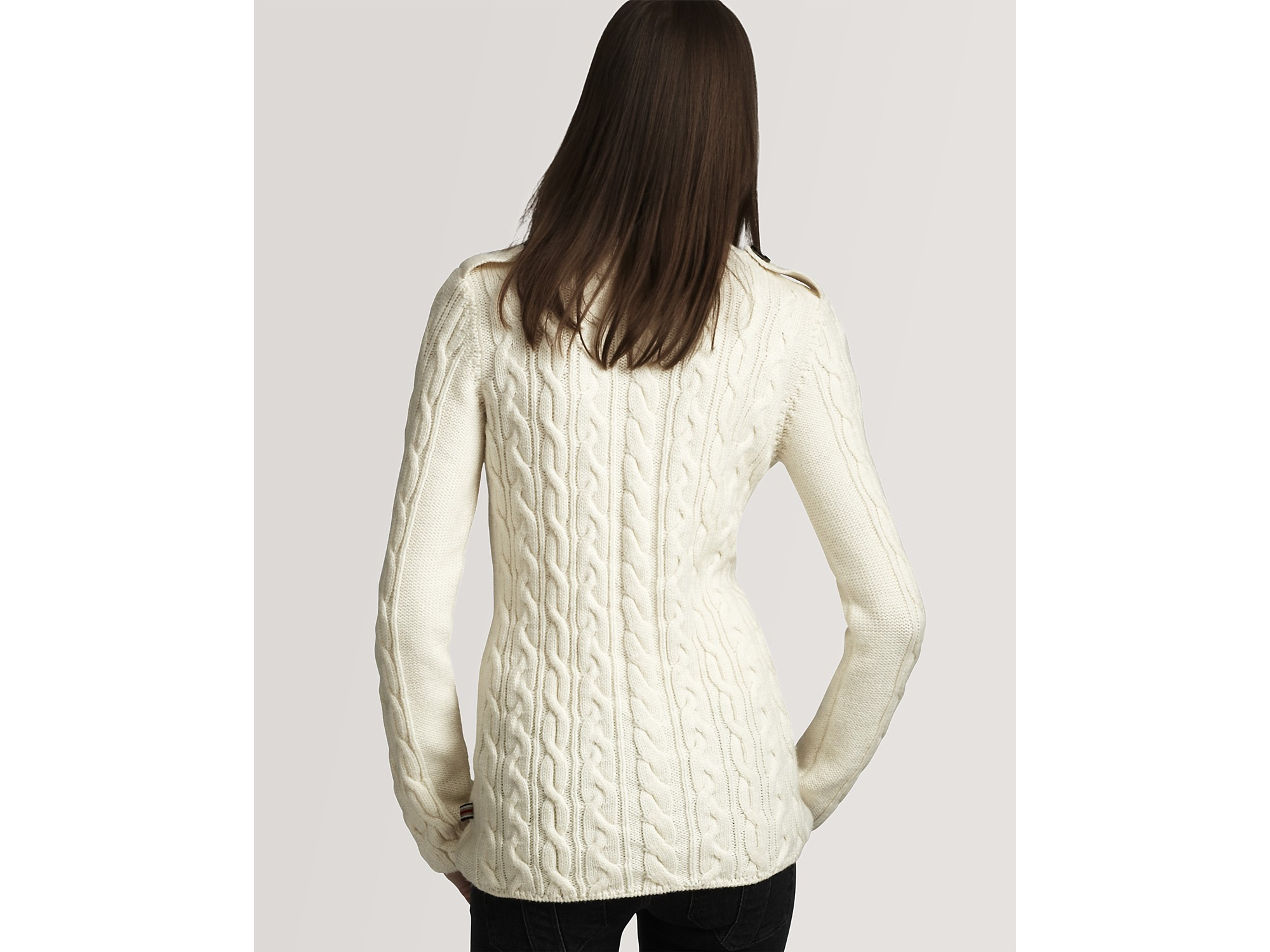 Burberry Brit Long Sleeve Cable Knit Sweater in White | Lyst