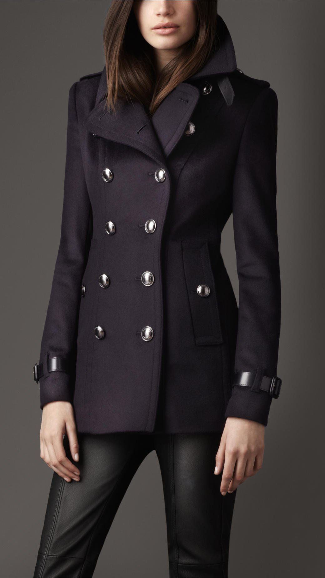 Burberry Short Wool Cashmere Trench Coat In Blue Navy Lyst