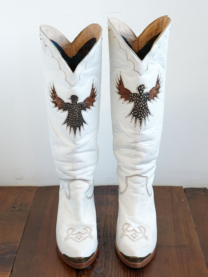 Lyst Free People Vintage White Leather Cowboy Boots In White