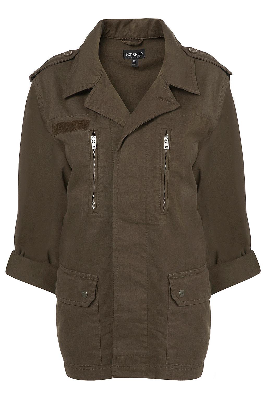 Lyst Topshop Khaki Army Jacket In Brown