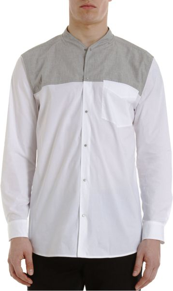 Alexander Wang Collarless Dress Shirt In Gray For Men