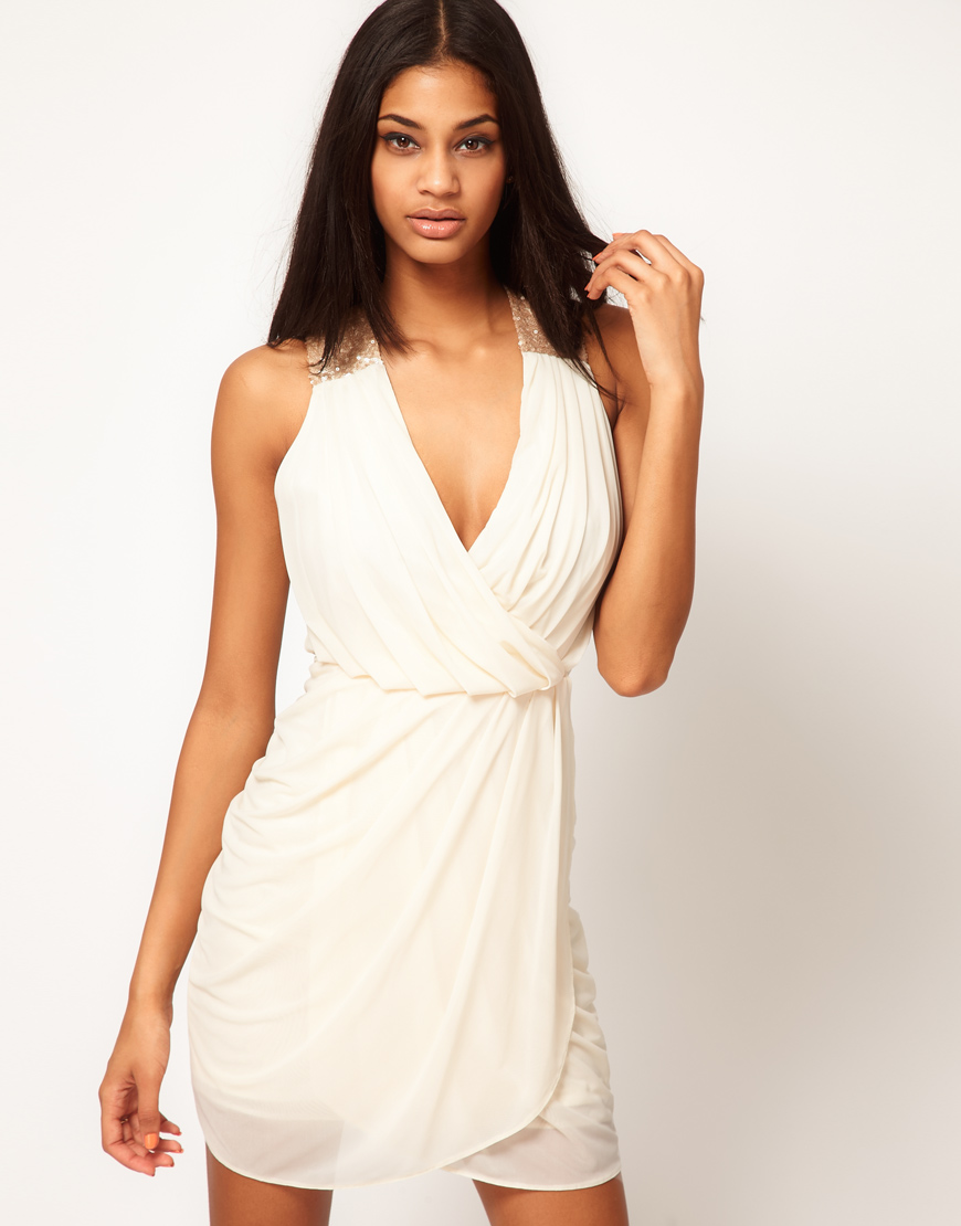 5429f096d4a5 Lyst - ASOS Collection Asos Tulip Dress with Sequin Straps in White