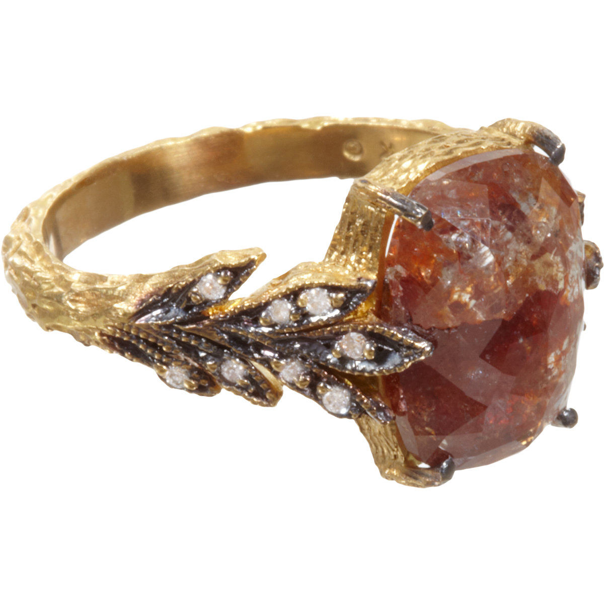 Rustic Diamond: Cathy Waterman Rustic Diamond Leafside Ring