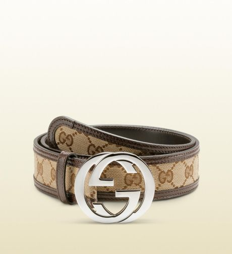 gucci belt with interlocking g buckle in brown for