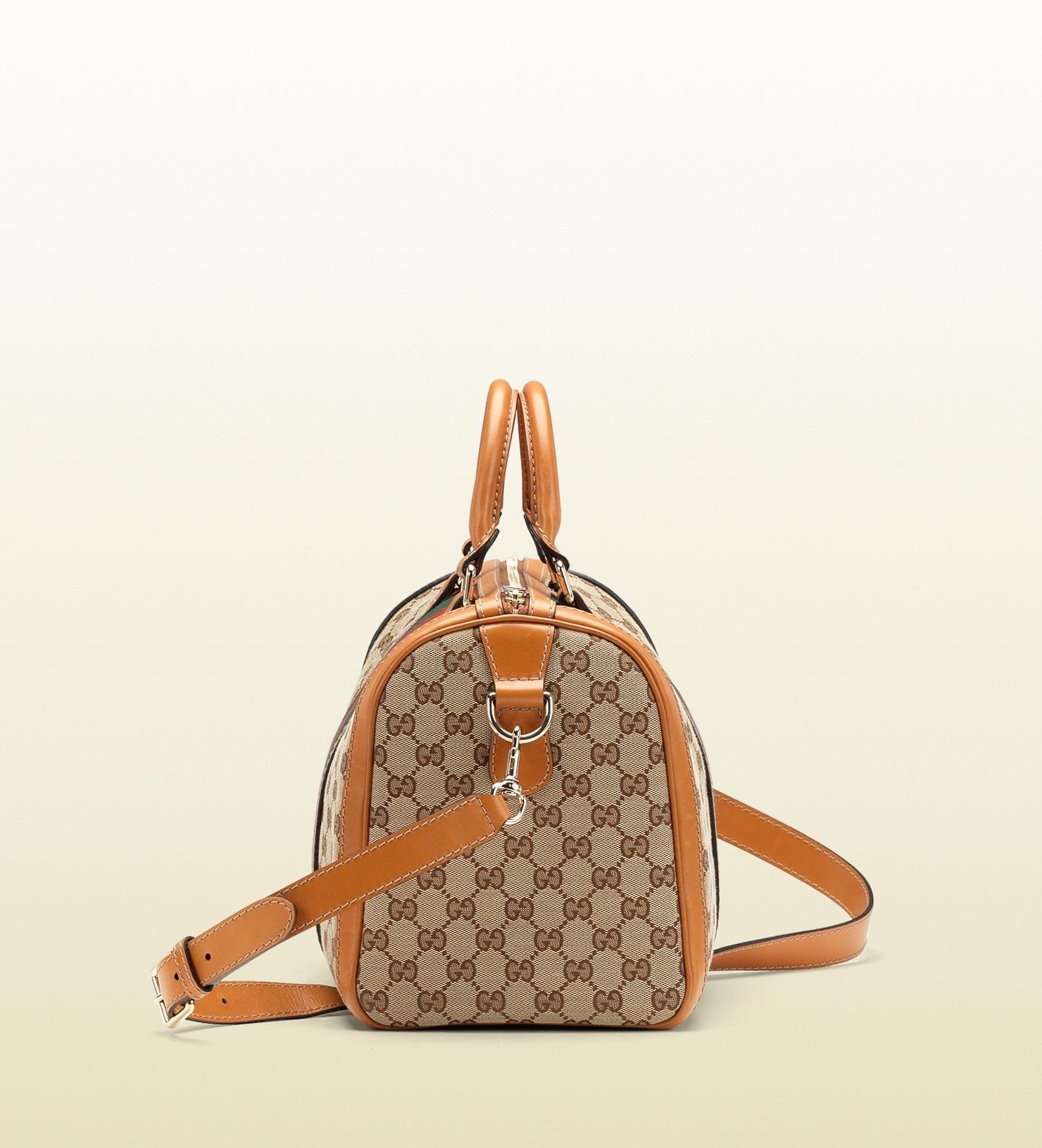 c1c124a5f98e Gucci Vintage Web Boston Bag in Brown