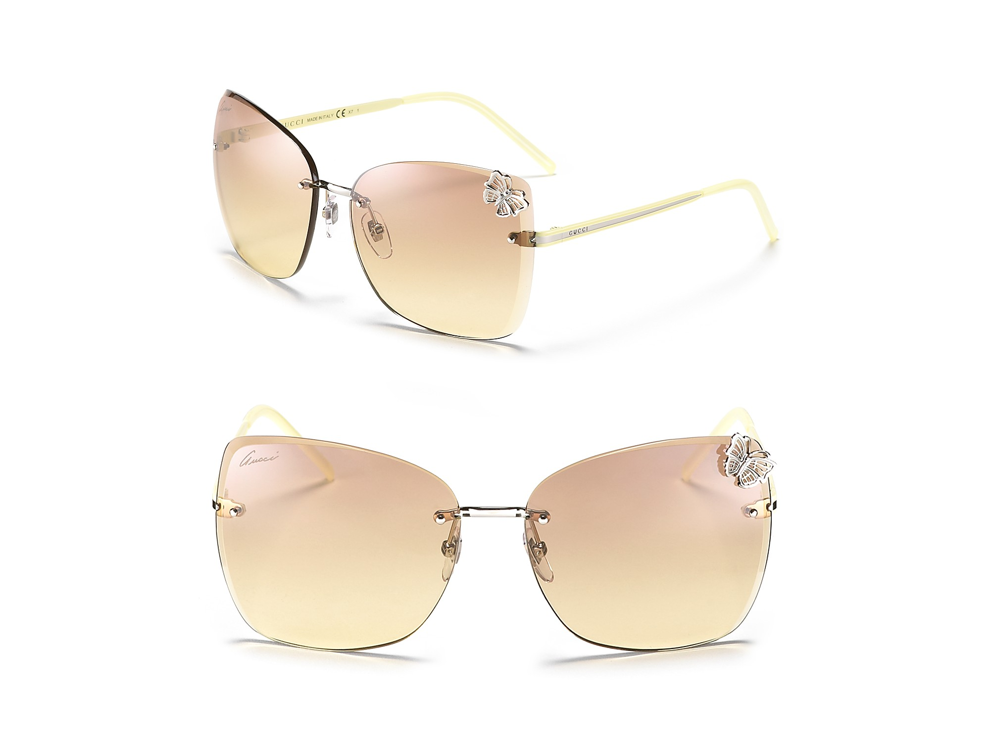 Rimless Butterfly Glasses : Gucci Oversized Rimless Butterfly Sunglasses in Beige ...