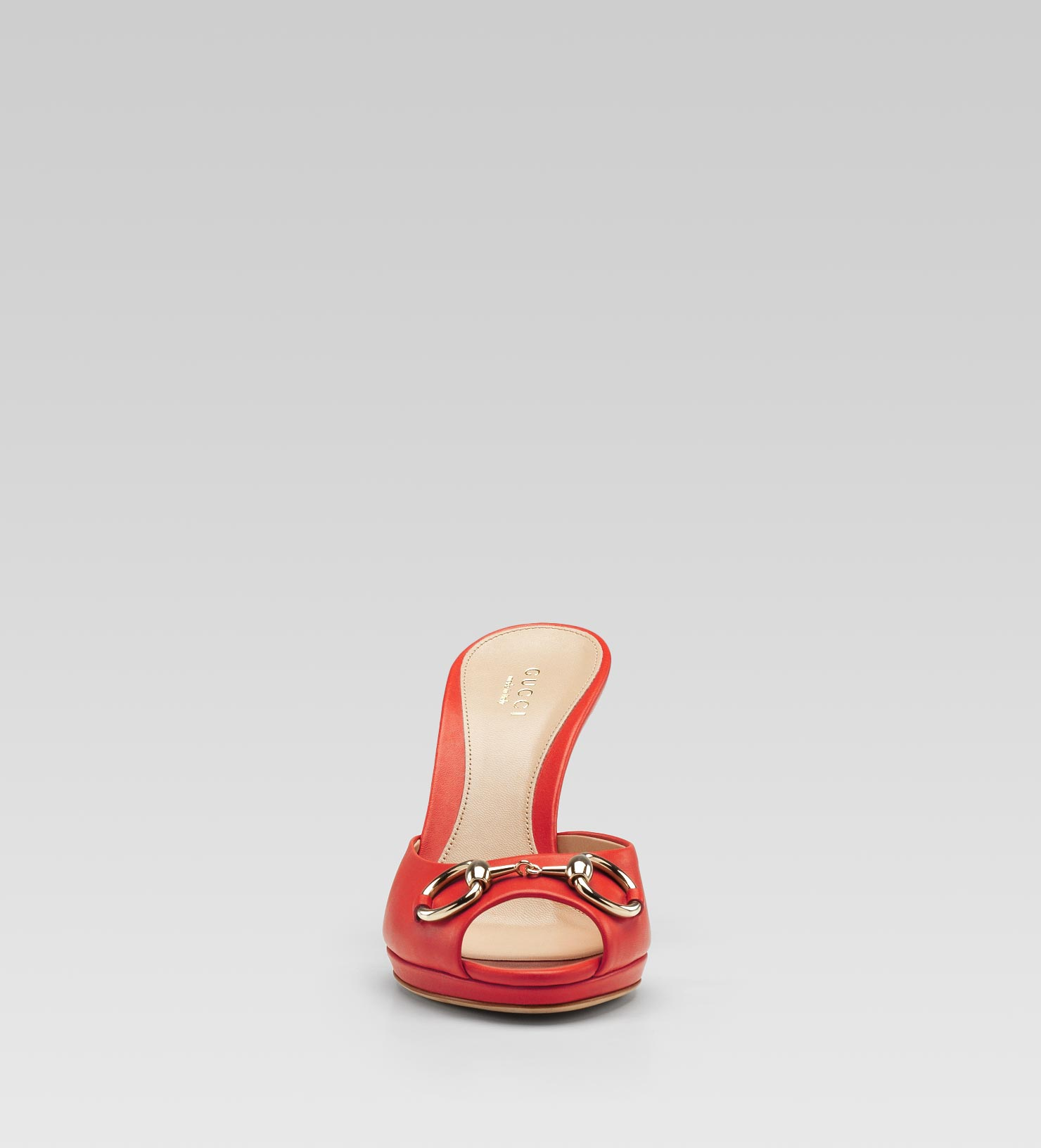7c13288a37a Lyst - Gucci New Hollywood Horsebit Mid Heel Platform Slide in Red