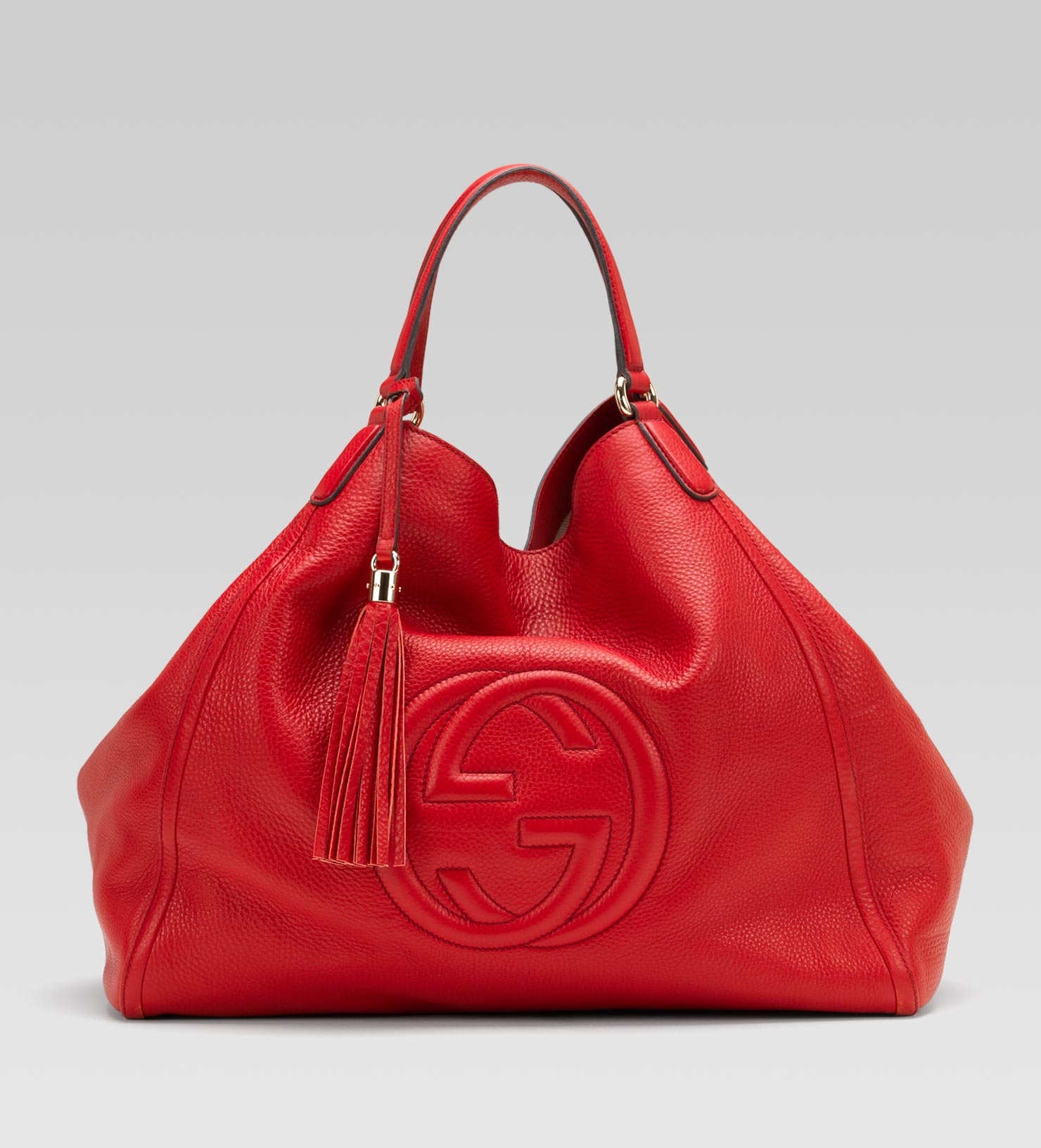 gucci soho leather shoulder bag in red lyst. Black Bedroom Furniture Sets. Home Design Ideas