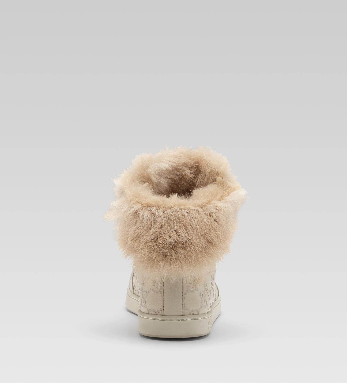 Lyst - Gucci Coda Fur-trim Hi-top Interlocking G Sneaker in Gray 7511529dd3
