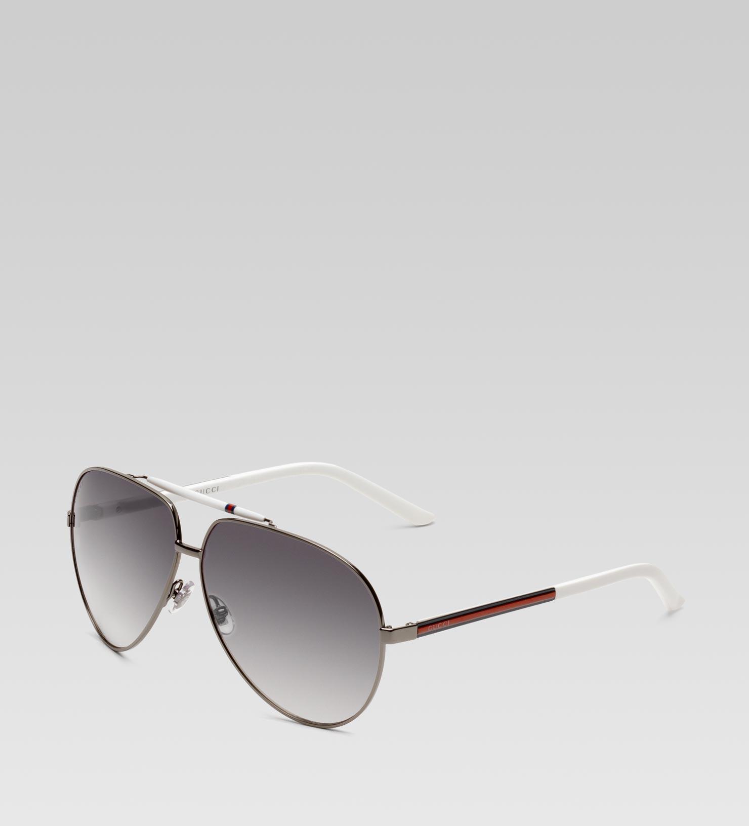 c869562f88 Gucci Medium Aviator Sunglasses With Signature Web Detail On Temple ...