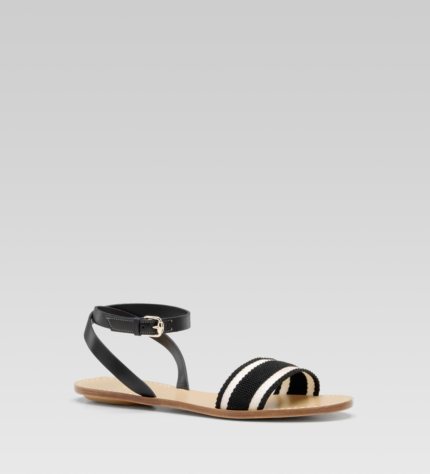 eca427e0d Gucci Vintage Web Flat Sandal with Ankle Strap in Black - Lyst